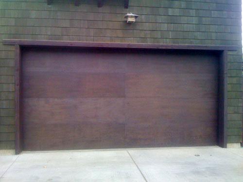 Mahogany flush garage door