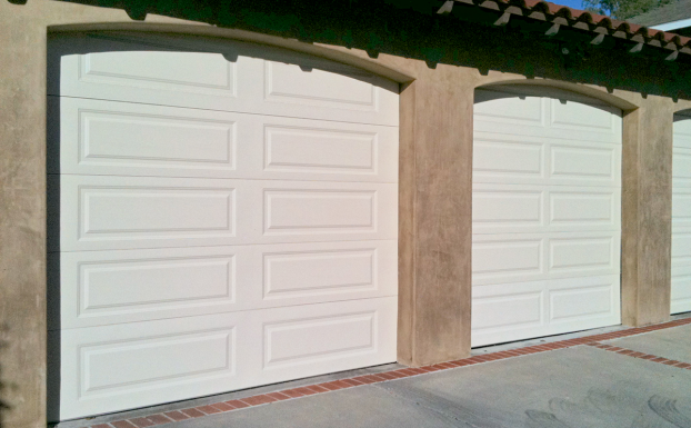 Unique garage doors almond long panel