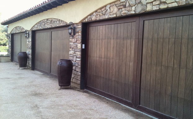 Marine mahogany custom garage doors