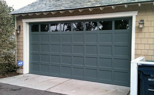 Wood flat panel garage door