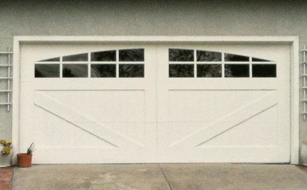 White Ranch House Garage Doors