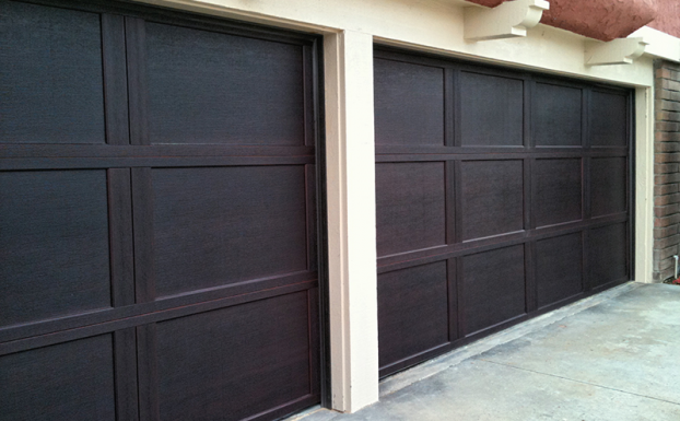 mahogany finish steel insulated garage doors