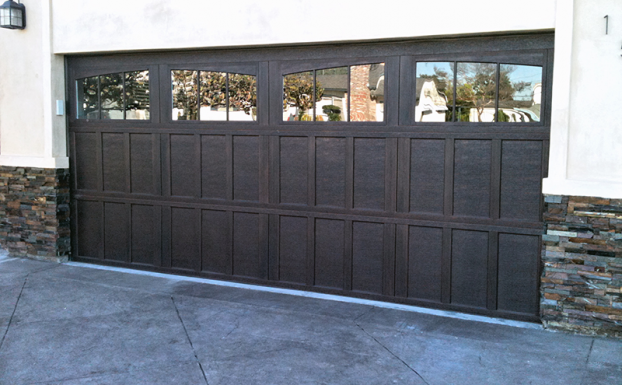 stained steel cage garage door