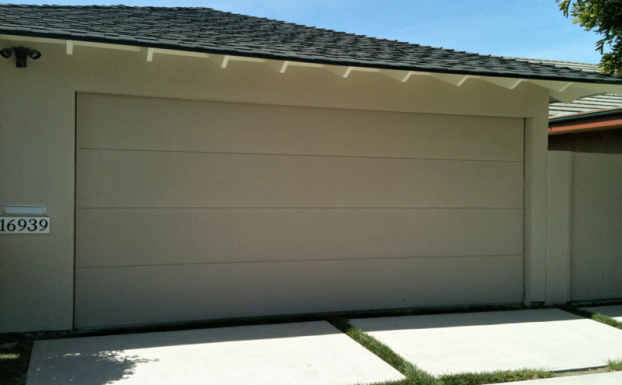 One piece tilt up garage door
