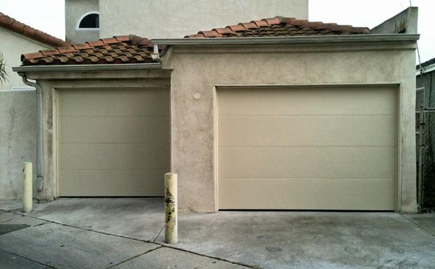 Unique garage doors almond flush