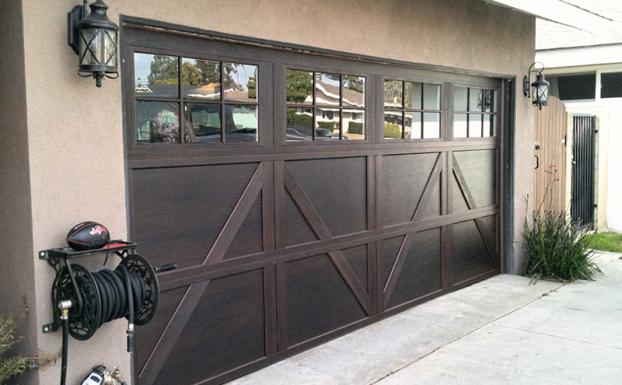 Stained steel garage door