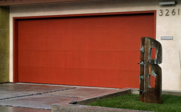 Contemporary Stained Mahagany Garage Door